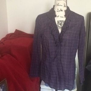 Plaid long sleeve Ann Taylor blouse